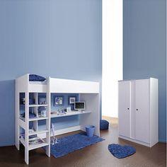 Sparset I Smoozy (2-teilig) - Hochbett & Kleiderschrank - Drehbare Kanten (Rosa/Blau)