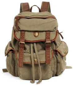 """* This washed vintage looking canvas rucksack backpack is perfect for your up to 17"""" laptop. - * Main Material: Canvas - * Color: Army Green - * Closure Type: Zipper & Hasp - * Interior: Cell Phone Po"""