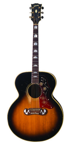 Peter Townshends 1968 Gibson J200. This is the guitar used during the recording of Tommy. Most notably in Pinball Wizard. Now in the RRHOF.