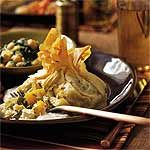 Phyllo Purses with Roasted Squash, Peppers, and Artichokes Recipe   MyRecipes.com