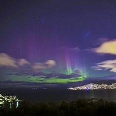Aurora Australis  Sandy Bay.  Sat on my friend's terrace and watched this.    #Tasmania  #Australia  by mattglastonbury (instagram)