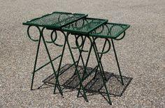 #Vintage #Salterini #Nesting ables, 3 #MidCentury #WroughtIron Nesting Tables, Salterini #MetalTables, 3 Metal Mesh #PatioTables