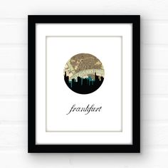 Frankfurt wall art | giclee print. Frankfurt skyline art featuring the Frankfurt skyline and a vintage Frankfurt map. Printed using archival quality inks on fine art paper, this print is guaranteed not to fade before you do! Available in 5x7, 8x10, and 11x14 PLEASE NOTE - the black frame around the display photo will not be included - this listing is for an unmatted, unframed print only.