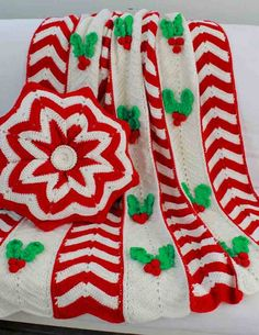 PA843 Holly Ripple Afghan and Pillow Crochet Pattern - http://www.maggiescrochet.com/holly-ripple-afghan-and-pillow-pattern-p-380.html #crochet #pattern #holly #ripple #afghan #pillow #seasonal #holiday #christmas #decorations #Home