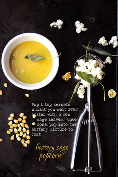 Glam up the soup with Buttery Sage Popcorn Popcorn, Sage, Clever, Dishes, Cooking, Ethnic Recipes, Food, Cucina, Plate