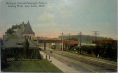 Vintage Postcard - Passenger Station, Ann Arbor, Michigan by buzzybea on Etsy