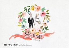 Watercolor Wedding Portrait Monogram Logo Design #etsy #wordpress website blog #branding