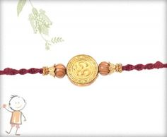 Online Rakhi Gold Plated #RakhiCollection 2016, Golden OM Pendent #Rakhi, surprise your loved ones with roli chawal, chocolates and a greeting card as it is also a part of our package and that too without any extra charges. http://www.bablarakhi.com/