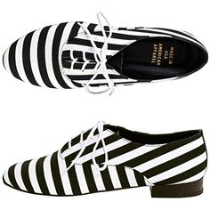 American Apparel Bobby Stripe Lace-Up Shoe ($95) ❤ liked on Polyvore featuring shoes, oxfords, flats, zapatos, striped flats, rubber flats, lace up flats, flat oxford shoes and oxford flats