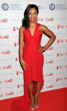 Gold medal-gymnast Gabby Douglas wore Pamella Roland during the Heart Truth Red Dress Collection show in New York City.