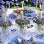 Lilacs and Candles Table Decor