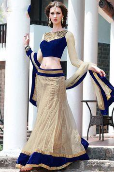 Bridal Blue and Peach Net Resham and Zari Thread Embroidered Border Le – Your Bridal Bazaar