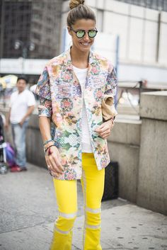 Yellow trousers bring a burst of sunshine to an outfit.