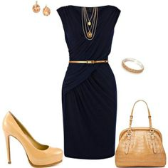 love the nude shoes with the black dress, www.lolomoda.com