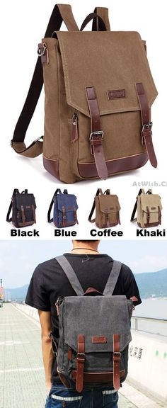 ad43c8e196 Leisure Splicing PU Belts Flap Travel Square Rucksack Laptop Bag School Canvas  Backpack only  38.99