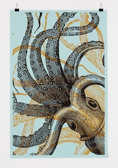 Bon Matin Screenprint Poster - Octopus No 1. €25,00, via Etsy.