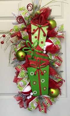 Christmas Glitz Mesh Swag Wreath by WilliamsFloral on Etsy