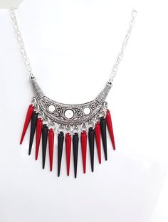 Red & Black Spikey Necklace  www.facebook.com/JewelleryByM.E?ref=hl