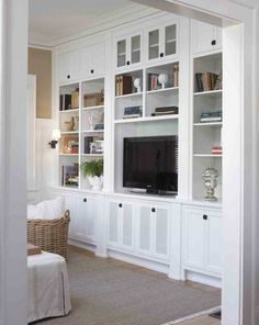 Hold router built in cabinets, diy cabinets, living room wall units, dining Living Room Wall Units, Dining Room Walls, Built In Cabinets, Diy Cabinets, Muebles Living, Elle Decor, Traditional House, Cabinet Doors, Entertainment Center Decor