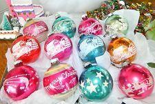 Antique Vtg Glass Christmas Ornaments SHINY BRITE STENCILED Toy Moon Sleigh Etc