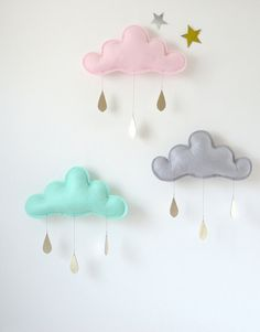 3 Rain Cloud Mobiles Nursery Children Decor- 3 Spring  rain Cloud Mobiles for nursery by The Butter Flying