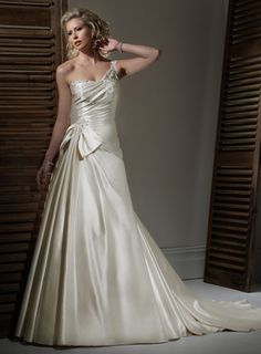 A-line Satin Sleeveless bridal gown