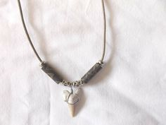 Squalicorax fossil Shark tooth necklace beachwear surfer sharks teeth