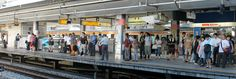 Commuters in Shinjuku are lining up for their trains on a normal summer weekday Tokyo Japan Travel, Go To Japan, Trains, Street View, Summer, Summer Time, Train