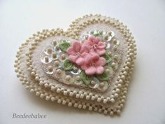 Beedeebabee - beads and sparkle heart pin - a wearable pin for Valentine's day, a lovely shabby chic Christmas ornament or just shabby chic decor, or romantic wearable - just a lovely beaded pin on felt design