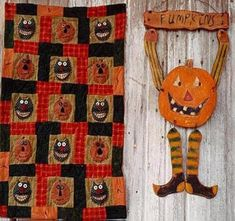 Primitive Halloween Quit Pattern Epattern PDF Wood Jol Pumpkin Door Hanger Black…