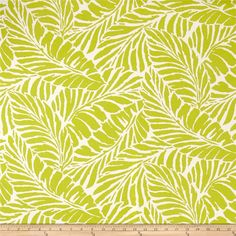 This indoor/outdoor fabric is stain and water resistant, very family friendly and perfect for outdoor settings and indoors in sunny rooms. It is fade resistant up to 500 hours of direct sun exposure. Create decorative toss pillows, cushions, chair pads, placemats, tote bags, slipcovers and upholstery. Colors include lime green and off-white.
