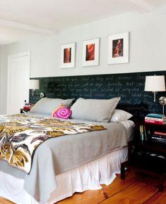 Chalkboard Paint Headboard | 22 Small Bedroom Decorating Ideas on a Budget | Easy DIY Bedroom Decor Ideas | Click for Tutorials