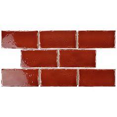 "Frisia Subway 2.5"" x 5.13"" Ceramic Subway Tile in Burgundy"