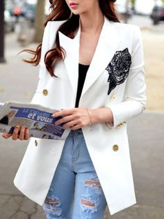 White V Neck 3/4 Sleeve Floral Blazer- love this shape without the flower.