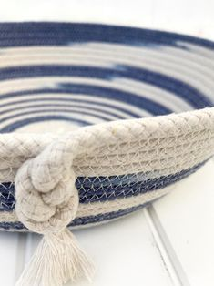 Hand dyed rope, navy/denim blue colour ombre coiled rope bowl, basket with tassel feature, hand dyed natural cotton rope, fathers day gift : Hand dyed rope navy/denim blue colour ombre coiled rope bowl Ombre Effect, Cotton Rope, Girl Day, Craft Items, Small Gifts, Hair Ties, Fathers Day Gifts, Blue Denim, Baby Shower Gifts