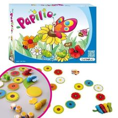 Learn how to colour match in a fun way. The four small, wooden caterpillars set off on a big journey across a bed of coloured flower discs. The five colour & symbol dice show your child what moves they can make, jumping from flower to flower. When they reach the big flower at the end of the journey they turn from a caterpillar into a butterfly, but they have to correctly turn over two matching coloured wings to win. If the wings don't match, they have to try again on their next turn