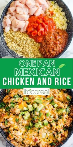One Pan Mexican Chicken and Rice is an easy chicken skillet recipe made with pantry staples. Rice and chicken breasts are simmered in salsa broth, then finished with gooey cheese and served with avocado.