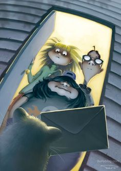 """Day of the Tentacle Art - The letter from the Hamster. """"Back... To the Mansion!"""""""