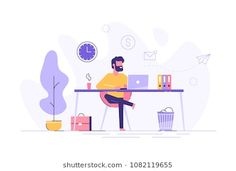 View top-quality illustrations of Handsome Man Is Working At His Laptop Modern Office Interior With Work Process Icons On The Background Vector Illustration. Find premium, high-resolution illustrative art at Getty Images. Illustration Design Plat, Illustration Plate, People Illustration, Character Illustration, Digital Illustration, Map Illustrations, Business Illustration, Web Design, Vector Design