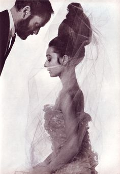 "thefashionofaudrey: "" American Vogue, edition of April 15, 1963. The actress Audrey Hepburn photographed with her husband Mel Ferrer (actor and director) by Bert Stern for Vogue in New York (USA), on March 15, 1963. Audrey was wearing: • Evening..."