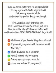 Free Printable - Game of questions to play with your little one while you share a bag of M.