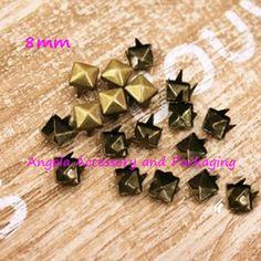 Free Shipping 1000pcs/lot 8mm Antique Brass Pyramid Studs Rivets Spots Punk Rock Spike DIY Accessory