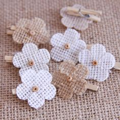 Handmade Burlap Bow Clothes Pins Mini Bows by Summertimedesign