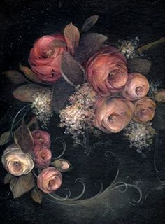 a painted gardewn by mary jo leisure painting books - - Image Search Results Tole Painting Patterns, Gris Rose, Painted Books, Book Images, Vintage Flowers, Pink Grey, Gray, Painting Inspiration, Folk Art