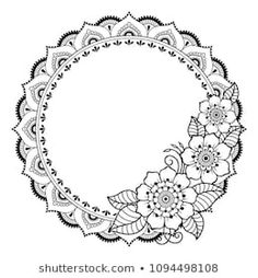 Circular pattern in form of mandala for Henna, Mehndi, tattoo, decoration -frame. Decorative ornament in ethnic oriental style. Coloring book page. Henna Mandala, Mandala Tattoo Design, Henna Tattoo Designs, Mandala Drawing, Designs Mehndi, Mehndi Tattoo, Henna Mehndi, Henna Art, Hand Henna