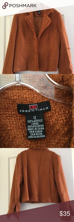 BURNT ORANGE BLAZER- GREAT FALL JACKET SZ 12 Very nice jacket, worn once! 100% Acrylic tweed looking material. Has a pull of threading shown in picture but can be fixed so not seen. Nearly new and a great piece to add to any wardrobe DS ESSENTIALS Jackets & Coats Blazers