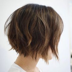 Brown Layered Choppy Bob