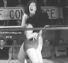 DVD of vintage 50s women girl pro wrestling www.lady00wrestling.com