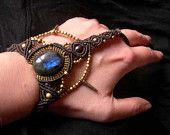 Tribal Macrame Handpiece Handjewelry Labradorite