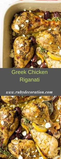 Fall-off-the-bone CHICKEN RIGANATI is truly a comfort food made with just a handful of available ingredients. Super juicy, flavorful and de. Mediterranean Chicken, Mediterranean Recipes, Greek Chicken, Keto Chicken, Bone In Chicken Recipes, Dinner Dishes, Dinner Recipes, Greek Recipes, Greek Meals